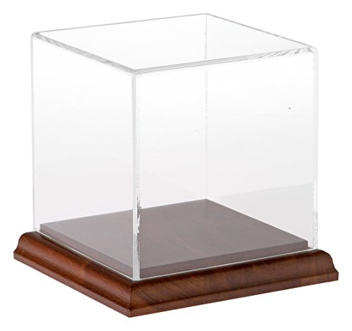 (Plymor Small Acrylic Display Case with Hardwood Base, 4 inch x 4 inch x 4 inch )