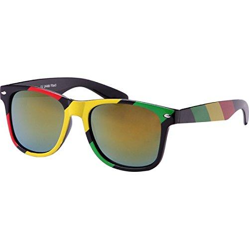 7a187ed4b192e Chic-Net sunglasses red yellow green Rasta Stripe Wayfarer Nerd mirror 400  UV turquoise yellow