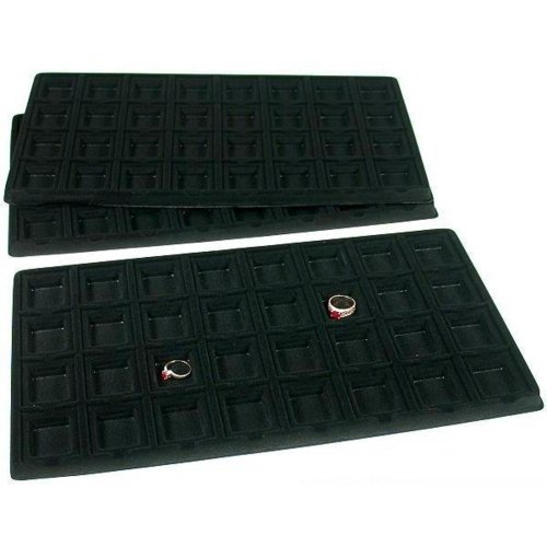(FindingKing 3 Black 32 Slot Puff Earring Cards Showcase Display Tray Inserts)