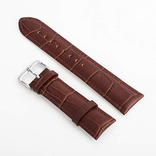 Leather Watch Strap 18mm 20mm Black Brown Replacement Bracelet Wristband with Stainless Mental Buckle by BONSTRAP (Image #1)