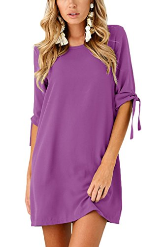 Boosouly Women's Lace Up 1/2 Sleeve Crewneck Sexy Shift Denim Dress Party Dress Purple M Denim Shift