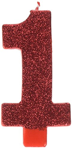 #1 Red First Birthday Glitter Numeral Candle (1 Glitter)