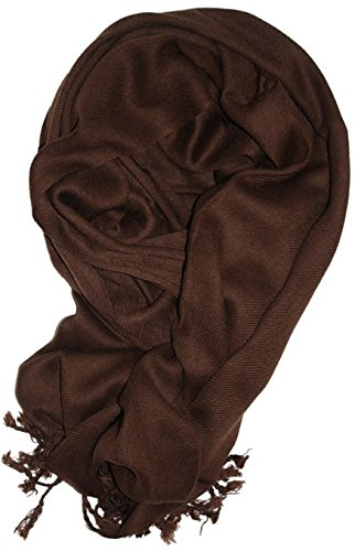 LibbySue-A Luxurious Pashmina Scarf in Dark - Scarf Viscose Brown