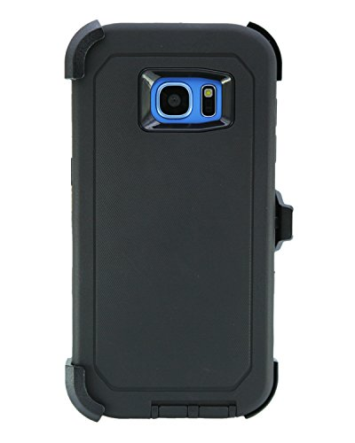 WallSkiN Turtle Series Cases for Samsung Galaxy S7 Edge (Only) Tough Protection with Kickstand & Holster - Shadow (Black/Black)