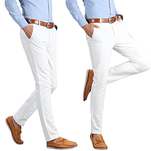 INFLATION Men's Stretchy Slim Fit Casual Pants,100% Cotton Flat Front Trousers Dress Pants for Men,White Pants Size 33 by INFLATION (Image #4)