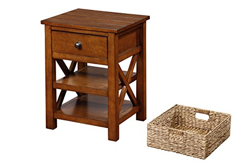 End Table with Drawer and 2 Shelves and Basket-fully assembled