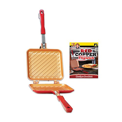 Red Copper Flipwich Non-Stick Grilled Sandwich and Panini Maker by BulbHead (1 Pack) by BulbHead