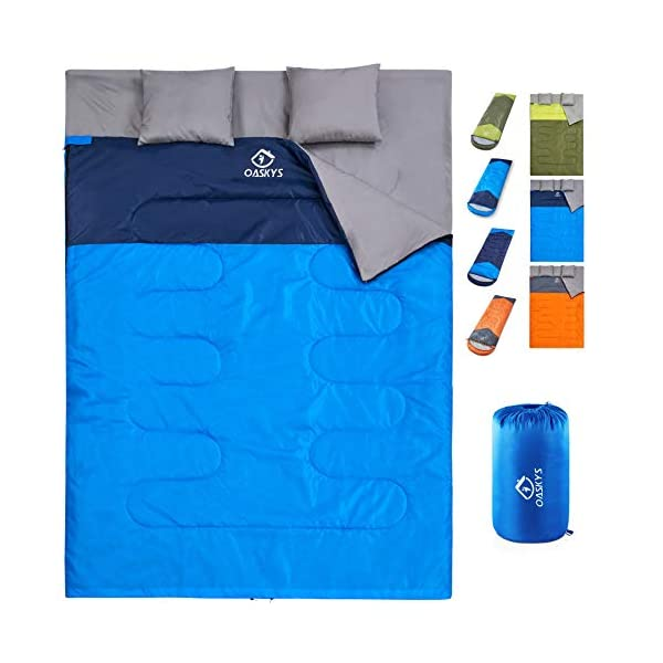 oaskys Camping Sleeping Bag - 3 Season Warm & Cool Weather - Summer, Spring, Fall, Lightweight, Waterproof for Adults & Kids - Camping Gear Equipment, Traveling, and Outdoors (Double Blue) 3