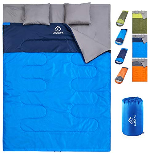 oaskys Camping Sleeping Bag – 3 Season Warm & Cool Weather – Summer, Spring, Fall, Lightweight, Waterproof for Adults & Kids – Camping Gear Equipment, Traveling, and Outdoors (Double Blue)