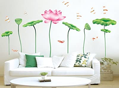 New Design DIY Vinyl Lotus Wall Sticker Art Flower Removable Wall Decals from New Design