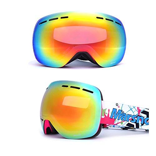 SE7VEN Lunettes De Ski Double Couche,Anti-buée Unisexe Sphériques Bonne Vision Claire Otg Snowboard Goggle rose