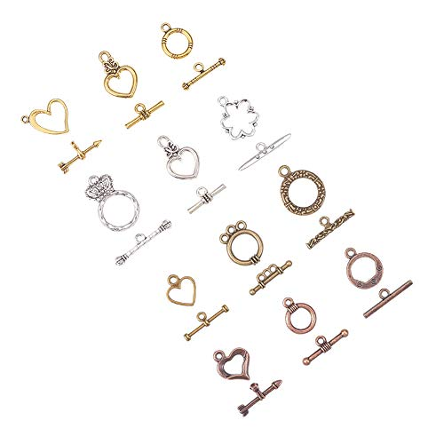 PandaHall Elite 120 Sets 12 Style Tibetan Style Alloy Toggle TBar Clasps Findings Jewelry -