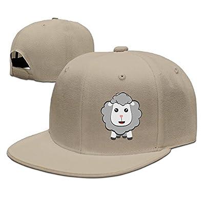 PeaceTown Big Eyed Kawaii Sheep Solid Flat Bill Hip Hop Snapback Baseball Cap Unisex Sunbonnet Hat.