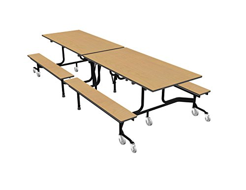 63T Easy Folding Mobile Bench Table, 29x30x120, Maple/Black, Cafeteria, School Breakroom ()