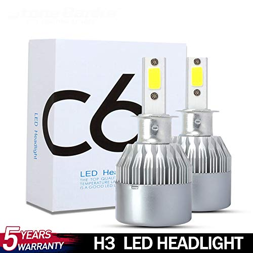 FENNG H3 LED Headlight Bulb Fanless 8000 Lumens Extremely Bright CSP Chips 6500K Xenon White Hi/Lo Beam HB2 Conversion Kit for Headlight - Pack of 2