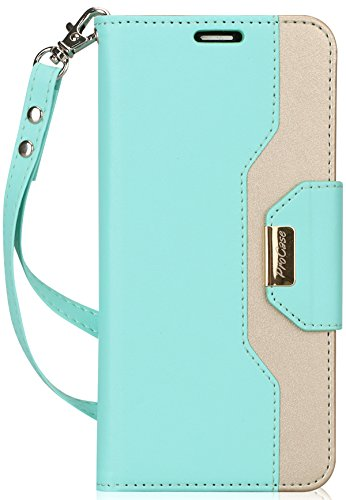 ProCase Huawei Mate SE Wallet Case, Huawei Honor 7X Case, Folding Flip Case with Card Holders Mirror Wristlet, Folder Stand Folio Case Cover for Huawei Mate SE Honor 7X -Mint Green by ProCase