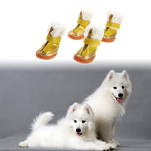 4pcs/set Candy Color Warm Pet Dog Waterproof Shoes Winter Boots Cotton Shoe - 2
