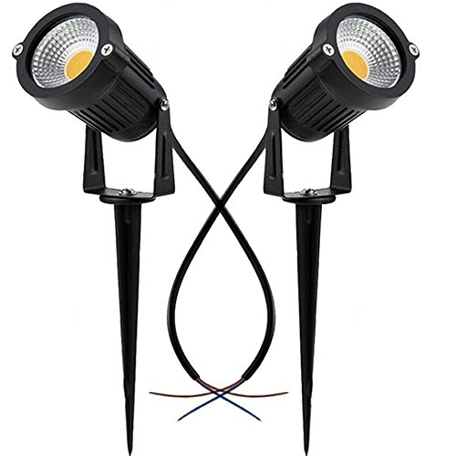 SUNRIVER 2 Pack 6W LED Outdoor Landscape Spotlight 12V 24V Waterproof Path Light Low Voltage Lamp with Spike Stand for Garden, Yard, Pathways, Lawn, Driveway Decorative Lighting (Warm White) ()