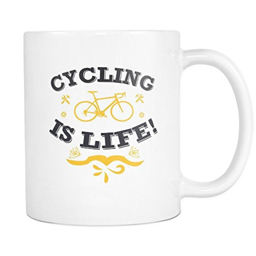 Cycling Is Life! Cute Hobby Mug Unique by Green Cow Land