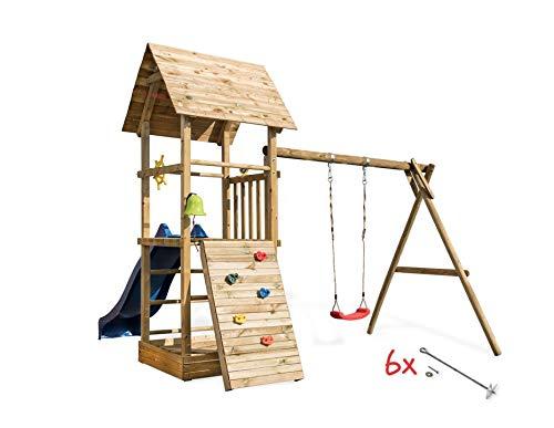Spielturm Alex 3 mit Schaukel, Sandkasten, Kletterwand, Rutsche wählen Blaue Rutsche, Sicherheit wählen 6X Bodenanker