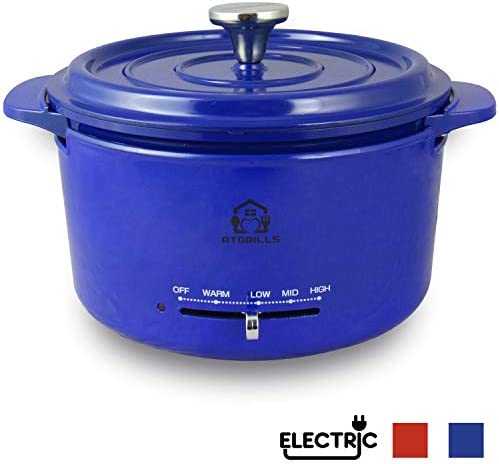 2 QT Cast Aluminum Dutch Oven Pot with Heating Base, Non-stick Electric Cookware HPE200-Blue, 2qt with Heating base