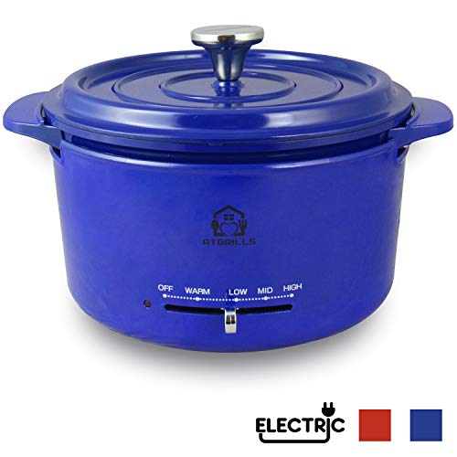 2 QT Cast Aluminum Dutch Oven/Pot with Heating Base, Non-stick Electric Cookware(HPE200-Blue, 2qt with Heating base)