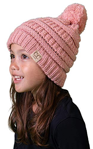H-6847-71 Girls Winter Hat Warm Knit Kids POM Beanie - Indi Pink