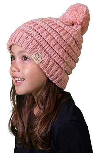 H-6847-71 Girls Winter Hat Warm Knit Kids POM Beanie - Indi Pink