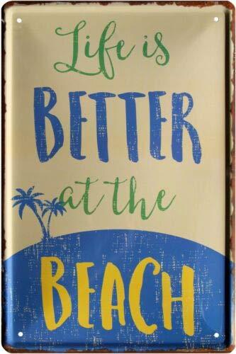 Life is Better at The Beach 676 - Cartel de Chapa (20 x 30 ...