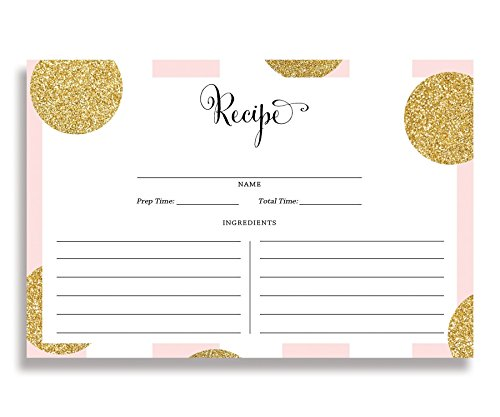 Gold Glitter Dotted Recipe Cards (Set of 15) 4x6 inches. Double Sided Blush Pink Stripe with Gold Glitter Polka Dots Thick Card Stock Recipe Cards | Damaris RC00022