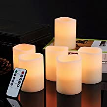 "Bingolife Real Wax Flameless Weatherproof Outdoor and Indoor LED Candles 3"" x 4"" with Remote Control & Timer (Ivory, set of 6)"