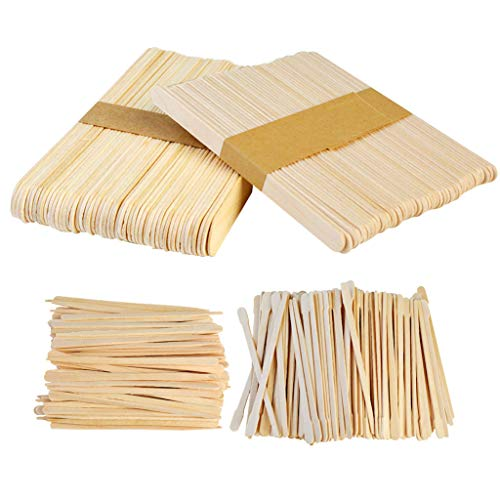 Yolyoo 400pcs Wooden Wax Sticks Wax Spatulas Wax Applicator Craft Sticks for Hair Eyebrow Removal, 4 Style (Sticks Removal Wax Hair)