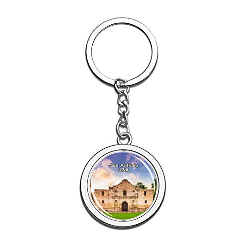USA United States Keychain The Alamo San Antonio Key Chain 3D Crystal Spinning Round Stainless Steel Keychains Travel City Souvenirs Key Chain Ring