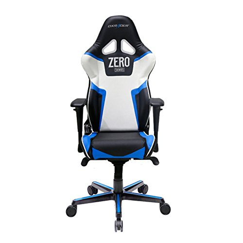 DXRacer RV118/NBW/ZERO Black White Blue Racing Bucket Seat Office Chair Computer Chair Ergonomic with Lumbar Support