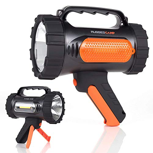Rugged Camp Titan X10 Rechargeable Spotlight - 1000 Lumens - High Powered 10W LED Bright Flashlight - Work Light & Tripod - Perfect for Camping, Hiking, Hunting, Emergencies & Outdoors -