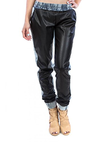 Exocet Womens Faux Leather Front Denim Back Jogger 3 Light Acid