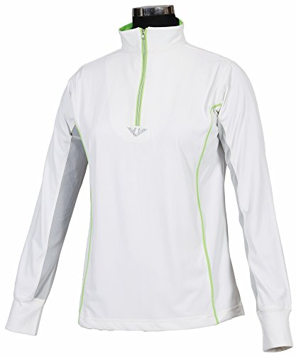 Womens Technical Mock Shirt - TuffRider Ladies Neon Mock Zip Long Sleeve Sport Shirt - White/Neon Green X-Large