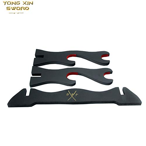 YONG XIN SWORD-Two Liers Japanese Sword Holder Katana Wakizashi Tanto Wooden Black Lacquer Finish Display Stand (Samurai Sword)