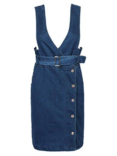 Joeoy Women's High Waist Belted Denim Suspender Pencil Skirt-M