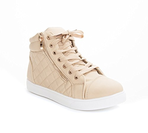 Soho Schuhe Damen Kunstleder gesteppte Zipper Lace Up High Top Sneakers Beige