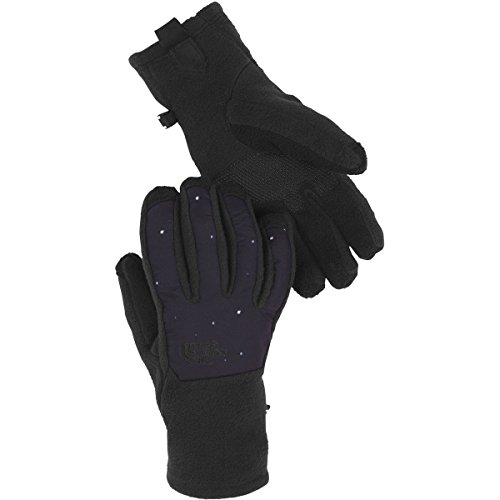 Nylon Print Gloves - The North Face Denali Etip Glove Womens (Large, TNF Black/Garnet Purple Galactic Print)