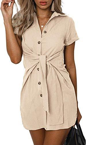 SVALIY Womens Summer Short Sleeve Casual Tunic Button Down Club Short Mini Party Shirt Dresses Khaki ()