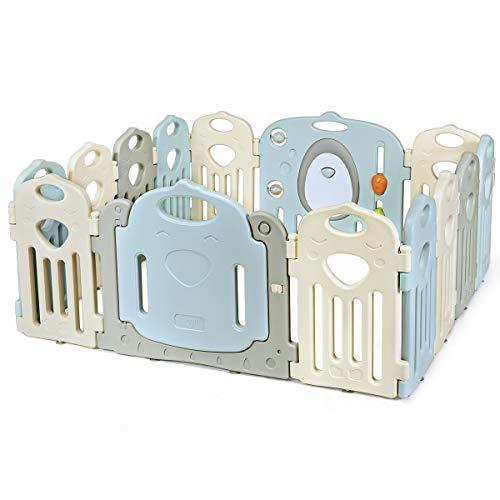 Costzon Baby Playpen, Kids 14-Panel Safety Yard Activity Center w Walk-Through Locking Door, Game Panel, Non-Slip Rubber Mats, Adjustable Shape, Portable Design for Indoor Outdoor Use