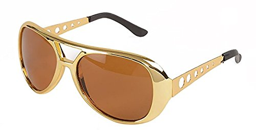 Elvis Rockstar 50's, 60's Style Aviator Shades, Gold Celebrity Sunglasses 1 Pair
