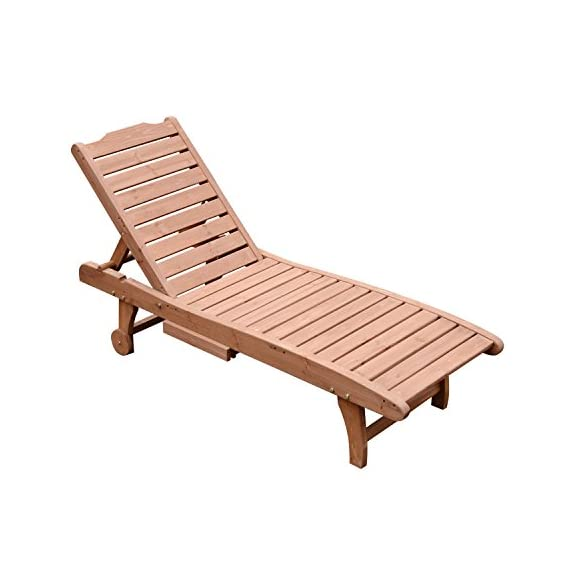 """Outsunny Wooden Outdoor Chaise Lounge Patio Pool Chair w/Pull-Out Tray - ✅IDEAL FOR OUTDOORS: This Outsunny chaise lounge in a brown red finish is ideal for your patio, deck, poolside or any other outdoor space. ✅PULL-OUT TRAY: The retractable pullout side tray table provides a convenient place to set drinks, snacks and reading materials. ✅ADJUSTABLE COMFORT: Offers supreme relaxation with a three-level adjustable backrest and 23"""" wide seat for a better, more relaxing fit. - patio-furniture, patio-chairs, patio - 41NBr0Zy0KL. SS570  -"""