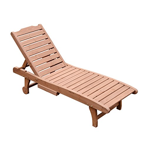 Outsunny Wooden Outdoor Chaise Lounge Patio Pool Chair w/Pull-Out Tray