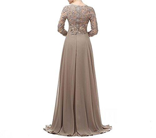 La Lang Chiffon Abendkleider Brautmutterkleider Abiballkleider Attraktive Marie Rock Champagner Braut Langarm Spitze zxwCqzS1r