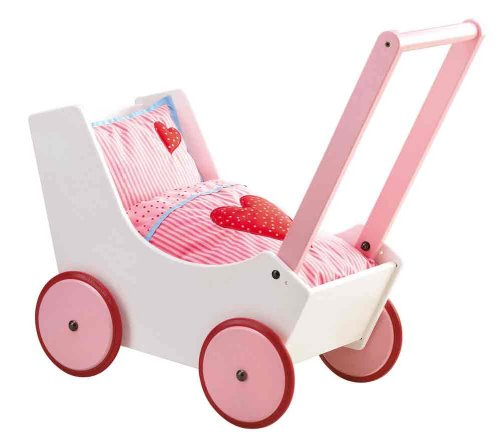 HABA Doll Pram Hearts - Wooden Doll Buggy with Bedding (Made in Germany) by HABA