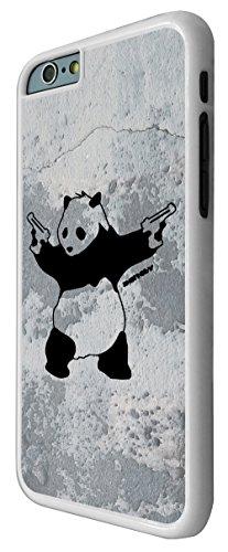 550 - Banksy Grafitti Art Wall Shooting Panda Design iphone 6 6S 4.7'' Coque Fashion Trend Case Coque Protection Cover plastique et métal - Blanc