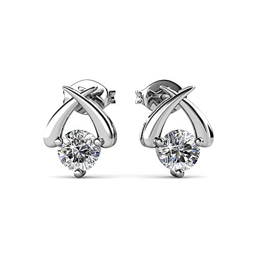 Prime Amazon Day - Cate & Chloe Eloise Modest Unique Gold Stud Halo Earrings, 18k White Gold Plated Studs with Swarovski Crystals, Geometric Stud Earring Set Solitaire Round Cut Crystals